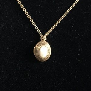1928 very small locket pendant necklace gold tone